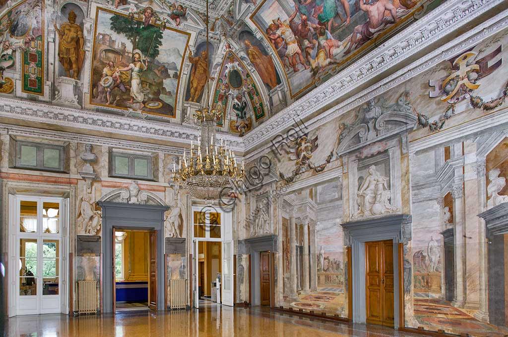 """Genova, Villa Pallavicino delle Peschiere: il salone. Affreschi di Giovanni Battista Castello, detto """"il Bergamasco"""", ca. 1560."""