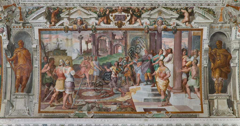 "Genoa, Villa Pallavicino delle Peschiere,  the hall, Ulysses' stories: detail of the game of throwing stones at the  Phaeacians' court. Frescoes by Giovanni Battista Castello, known as ""il Bergamasco"", about 1560."