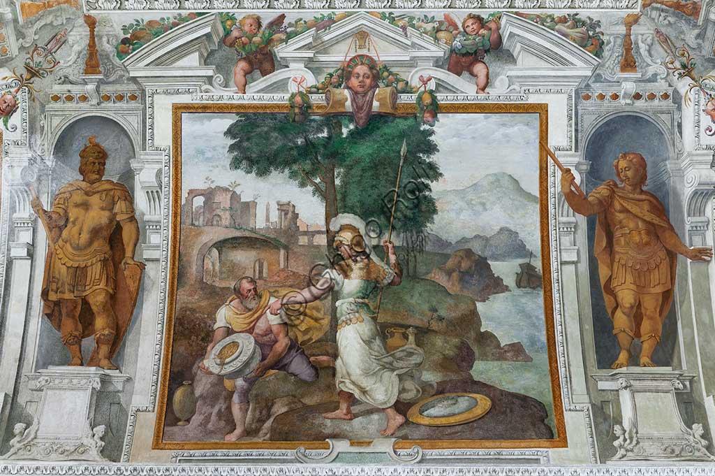 """Genova, Villa Pallavicino delle Peschiere, salone, volta: Ulisse e Minerva. Affreschi di Giovanni Battista Castello, detto """"il Bergamasco"""", ca. 1560."""