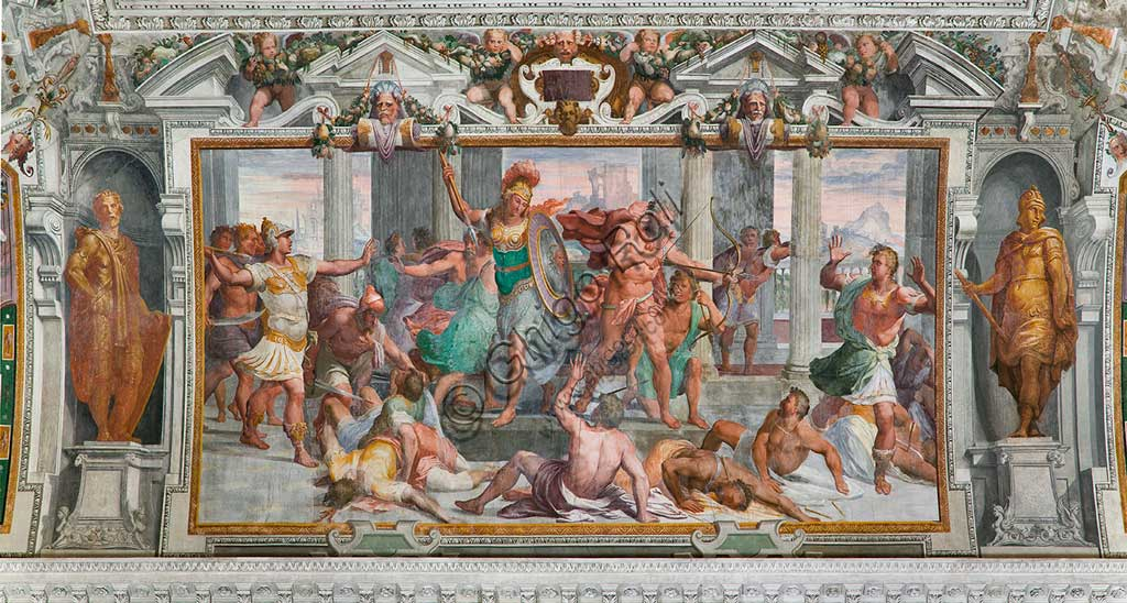 """Genova, Villa Pallavicino delle Peschiere, salone,  Storie di Ulisse: strage dei Proci. Affreschi di Giovanni Battista Castello, detto """"il Bergamasco"""", ca. 1560."""