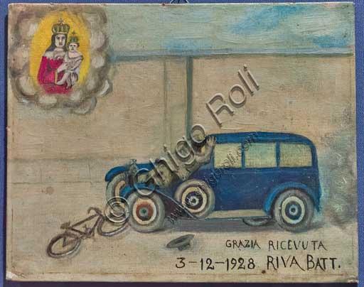 Bergamo, Bernareggi Museum: ex voto depicting an accident between a car and a bike.