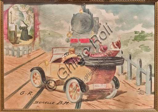 Bergamo, Bernareggi Museum: ex voto depicting an accident between a car and a train.