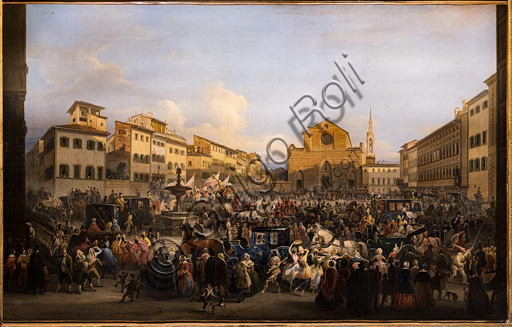 "Giovanni Signorini: ""Berlingaccio in St. Croce Square in Florence"", 1846, oil painting."