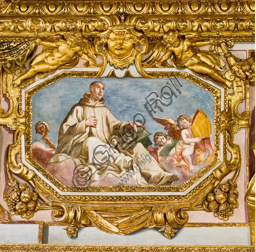"""Genova, Duomo (Cattedrale di S. Lorenzo), interno, volta: """"S. Bernardo di Chiaravalle"""" (1622-24), affresco di Lazzaro Tavarone."""