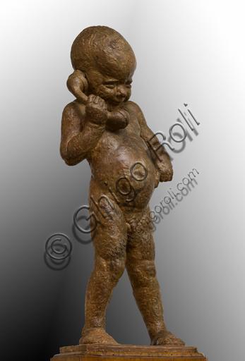 """Ulderico Fabbri (Ferrara 1897-1970): """"Bimbo al telefono""""; scultura; H cm. 97."""