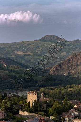 Bobbio: view of a tower house in the Trebbia Valley.