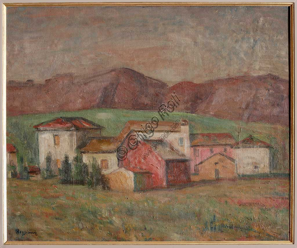 "Assicoop - Unipol Collection: Giuseppe Graziosi (1879-1942), ""Village at the Foot of the Mountains"". Oil on canvas, cm. 51 x 61."
