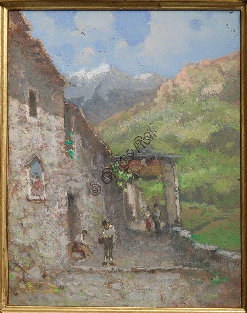 """Collezione Assicoop - Unipol: Lorenzo Gignous (1862 - 1958), """"Borgo alpino"""",  olio e tempera su cartoncino."""