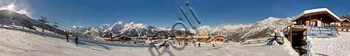 "Bormio 2000: ski slopes, ski lifts and the seat of the Italian Ski School ""Gallo Cedrone""."