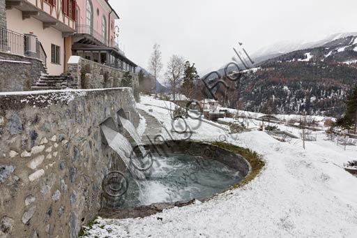 "Bormio, Spa,  the thermal baths ""Bagni Nuovi"": the open air pools."