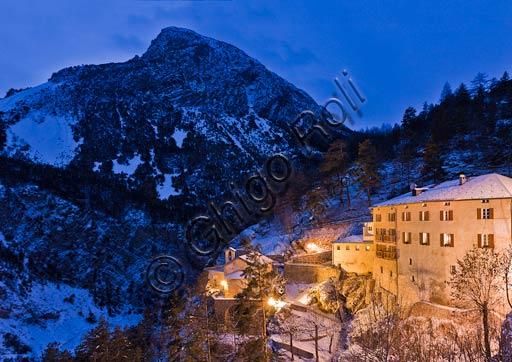 "Bormio, Spa: night view of the thermal baths ""Bagni Vecchi"""