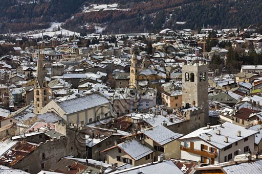 Bormio: view of the town (from the left  the Collegiate Church of SS. Gervasio and Protasio, the Church of S. Ignazio and the Communal Tower.