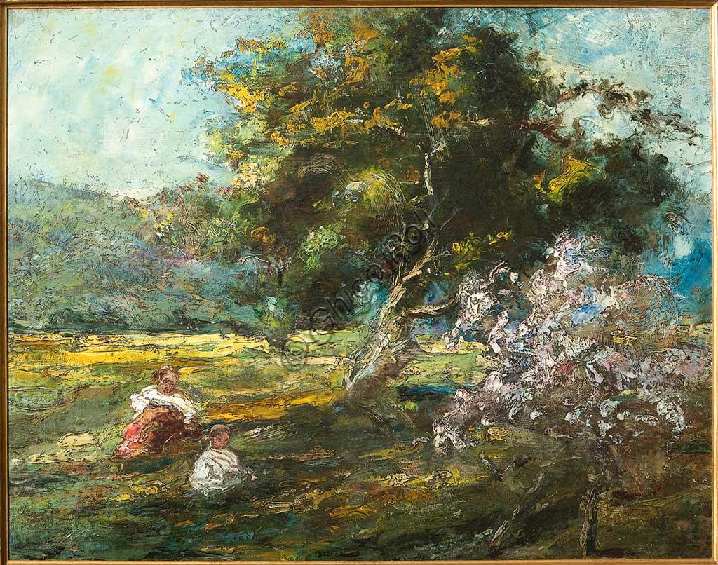 """Collezione Assicoop - Unipol: Ubaldo Magnavacca (1885-1957), """"Bosco con bimbi"""". Olio su tela, cm. 75 x 55."""