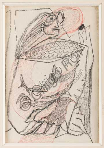 "Assicoop - Unipol Collection: Enrico Prampolini (1894 - 1956), ""Small Sketch for a Cassandra "". pencil and red pastel on paper."