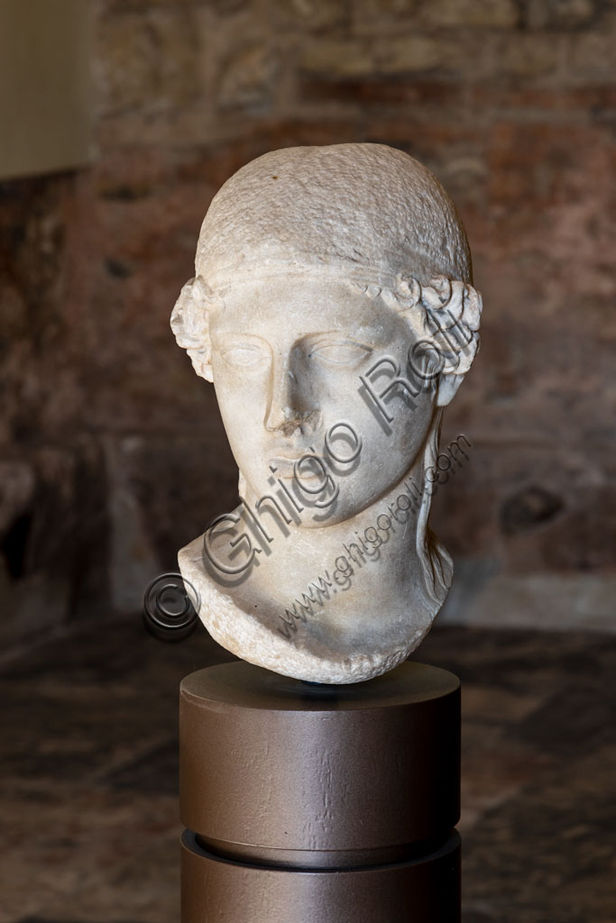 Brescia, the archaeological area of the Capitolium in the ancient Brixia, Unesco heritage since 2011: Head of Minerva, Roman copy of an original Greek artwork.