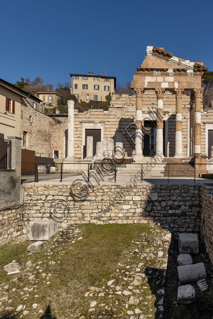Brescia, the archaeological area of the Capitolium in the ancient Brixia, Unesco heritage since 2011: the Roman Forum and the Capitolium (73 BC), a temple dedicated to the Capitoline triad (Jupiter, Juno and Minerva).