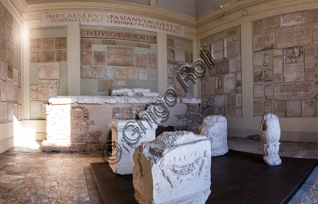 Brescia, the archaeological area of the Capitolium in the ancient Brixia, Unesco heritage since 2011, the Capitolium (73 BC), a temple dedicated to the Capitoline triad (Jupiter, Juno and Minerva): one of the cells with the collection of ancient Roman epigraphs.