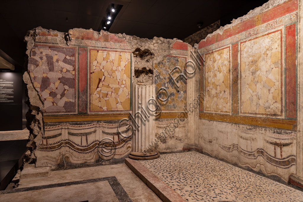 Brescia, the archaeological area of the Capitolium in the ancient Brixia, Unesco heritage since 2011, the Sanctuary of the Republican age (I century BC): one of the halls whose walls are decorated with beautiful frescoes and slabs.