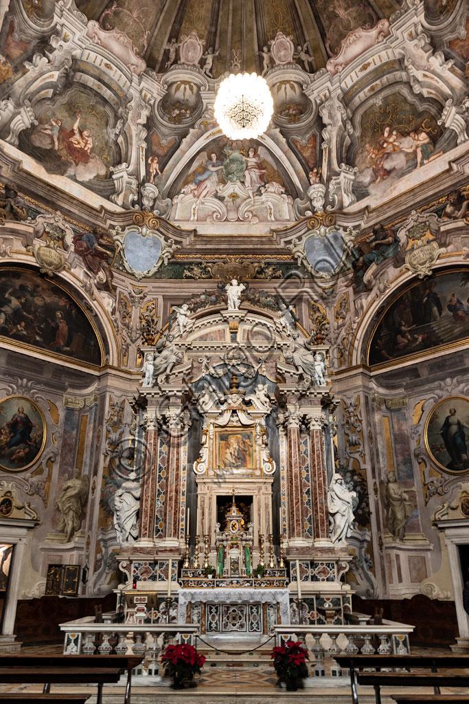 Brescia, the Church of St. Maria della Carità, built in 1640 in Baroque style, the interior characterised by the octagonal shape: the major altar.