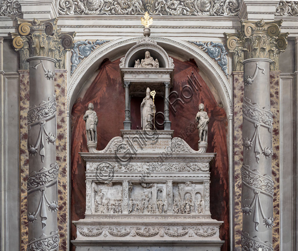 Brescia, the Duomo Nuovo (the New Cathedral): the monumental ark of St. Apollonius, embellished with refined bas-reliefs and a noteworthy example of Renaissance Brescian sculpture attributed to Gasparo Cairano, who might have realised it between 1508 and 1510.