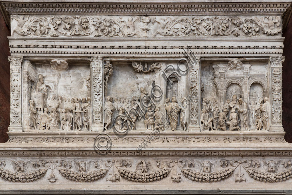 Brescia, the Duomo Nuovo (the New Cathedral): the monumental ark of St. Apollonius, embellished with refined bas-reliefs and a noteworthy example of Renaissance Brescian sculpture attributed to Gasparo Cairano, who might have realised it between 1508 and 1510. Detail.