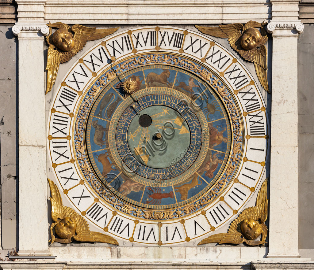 Brescia, piazza della Loggia (a Renaissance square where the Venetian influence is evident), the Clock Tower (1540 - 1550): the astronomical quadrant with concentric rings, decorated in gold and blue and with symbols of the Zodiacal signs.
