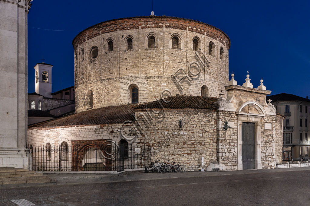 Brescia, Paolo VI Square: night view of the Duomo Vecchio (the Old Cathedral), built at the end of the XI century.