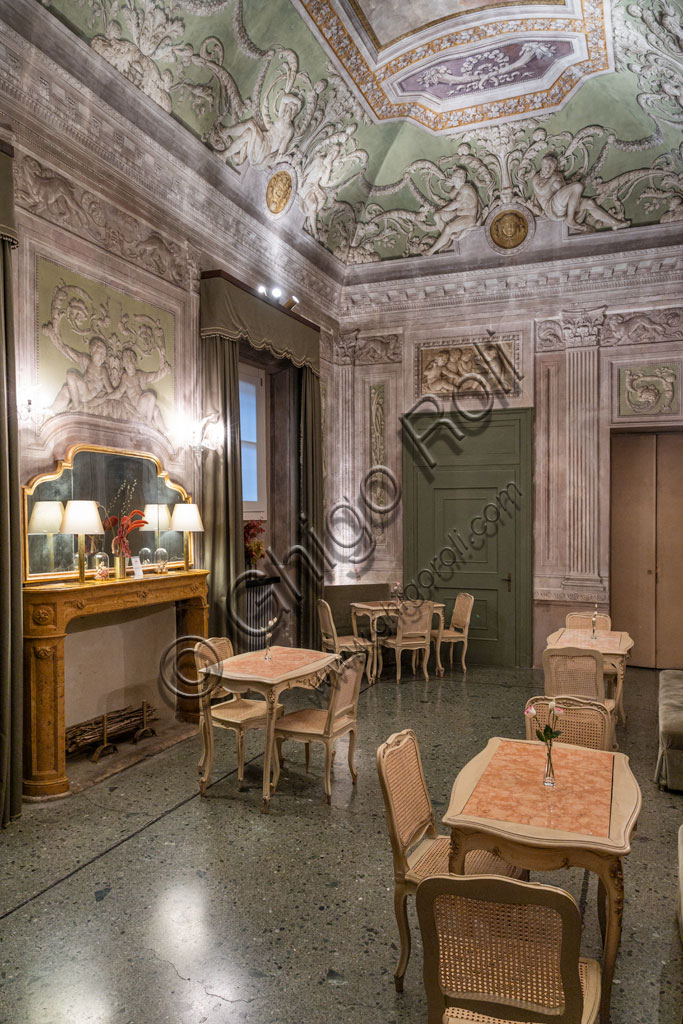 """Brescia, Teatro Grande: the Coffee Bar of the Theatre, decorated with paintings by Francesco Tellaroli, in 1787. This room now houses the """"Caffetteria"""", otherwise known as the Buvette of the theatre."""