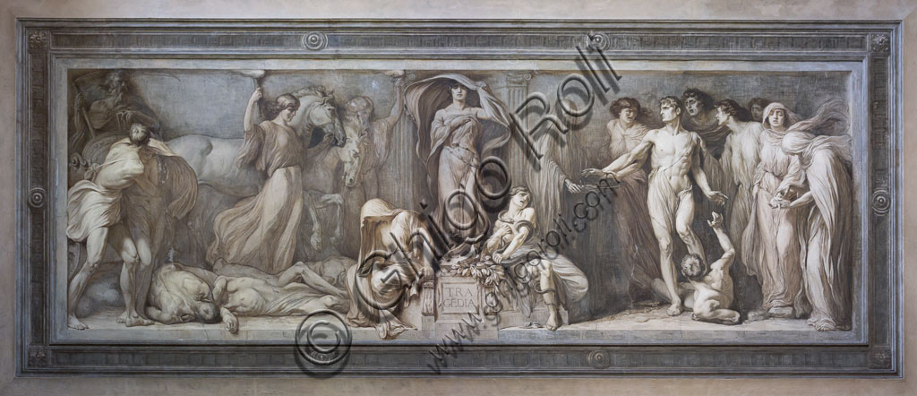 Brescia, Teatro Grande, staicase after the entrance:  monochrome fresco depicting the allegory of the Tragedy, by the Brescian painter Gaetano Cresseri (1914).
