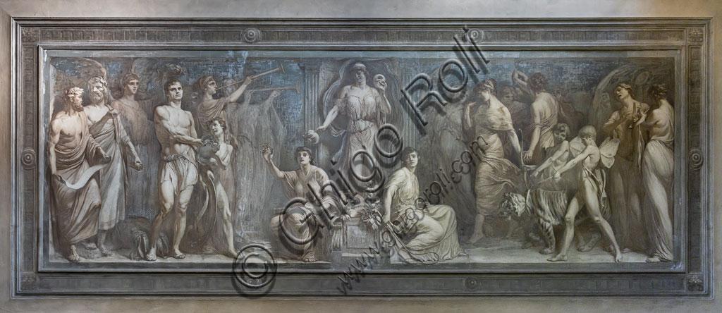 Brescia, Teatro Grande, staicase after the entrance:  monochrome fresco depicting the allegory of the Comedy, by the Brescian painter Gaetano Cresseri (1914).
