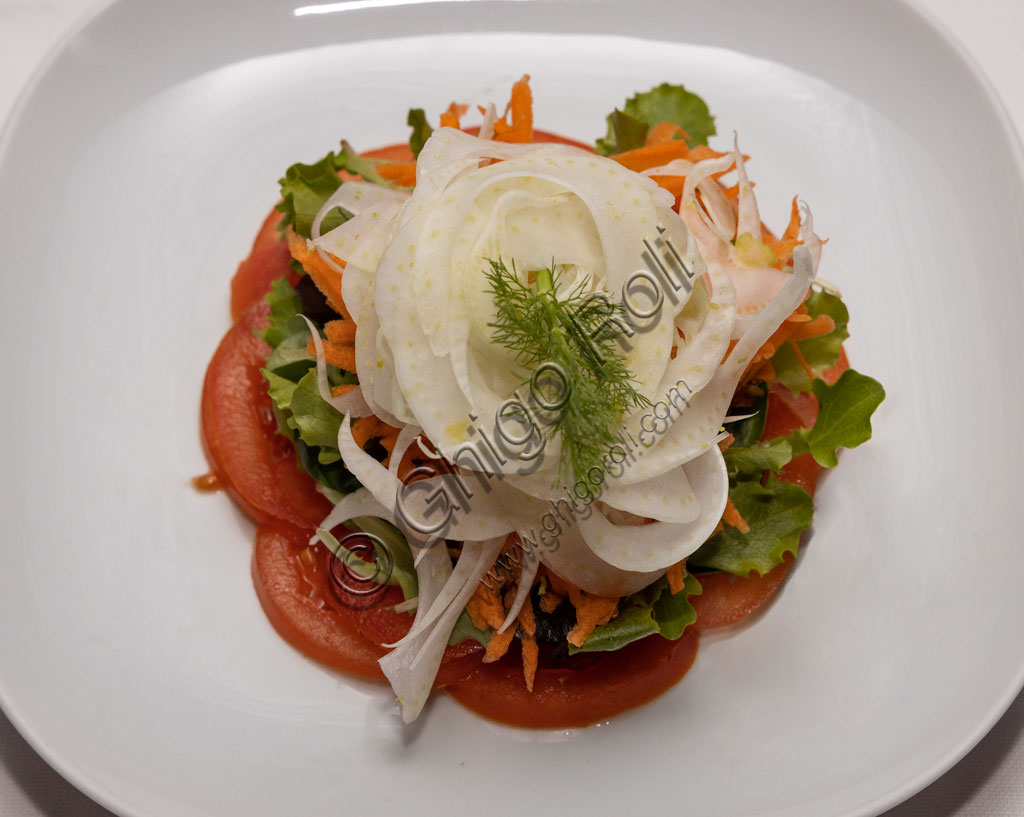 Brescia, Trattoria Il Fontatone: mixed salad decorated with raw fennel.