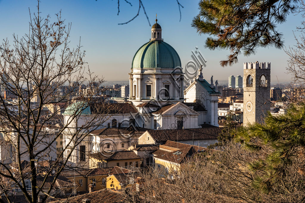 Brescia: view of Brescia from the Castle where the Pégol Tower and the dome of the New Cathedral, in late Baroque style and with the imposing facade of Botticino marble stand out.