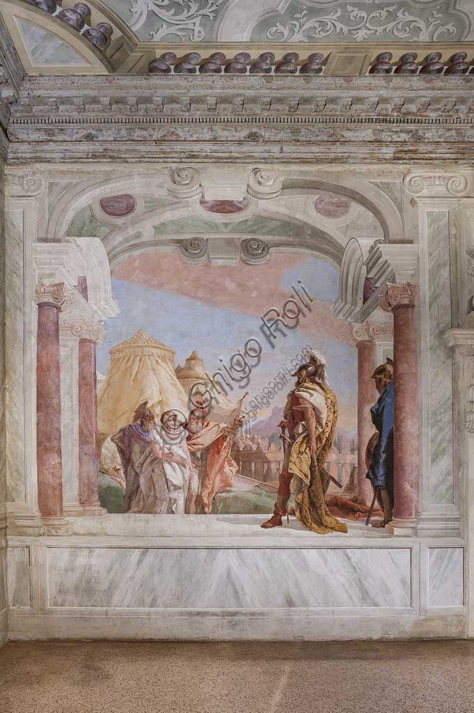 "Vicenza, Villa Valmarana ai Nani, Palazzina (Small Building): view of the first room and its frescoes representing episodes from  the Iliad: ""Briseis is lead to the presence of King Agamemnon"".  Frescoes by Giambattista Tiepolo, 1756 - 1757."