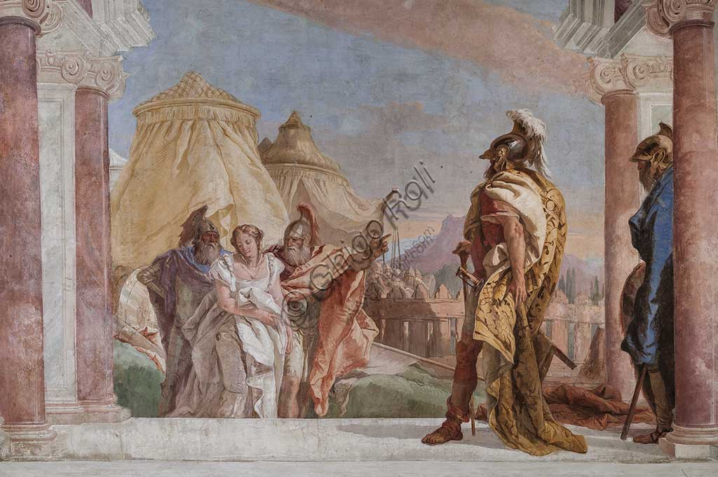 "Vicenza, Villa Valmarana ai Nani, Palazzina (Small Building): view of the first room and its frescoes representing episodes from  the Iliad: ""Briseis is lead to the presence of King Agamemnon"".  Frescoes by Giambattista Tiepolo, 1756 - 1757. Detail."