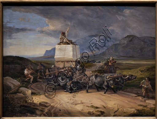 """Buffaloes dragging a block of marble destined to Thorvaldsen"", 1831, di Friedrich Nerly (o Nehrlich (1807 - 1878), oil on canvas."