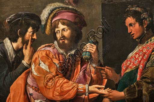 """Modena, Galleria Estense: """"La buona ventura"""" (circa 1617), di Lionello Spada, detto La Scimmia di Caravaggio.  Particolare."""