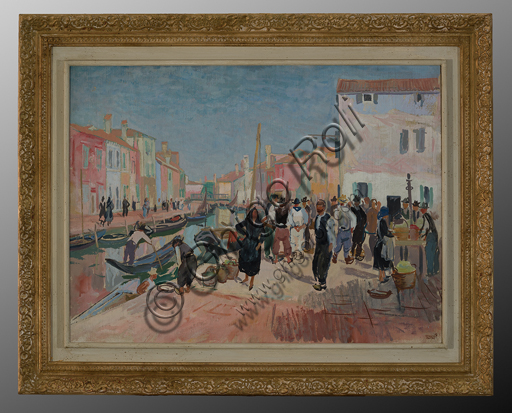 "Mario Vellani Marchi (1895 - 1979): ""Burano"" (oil painting on canvas, 79 x 99 cm)."