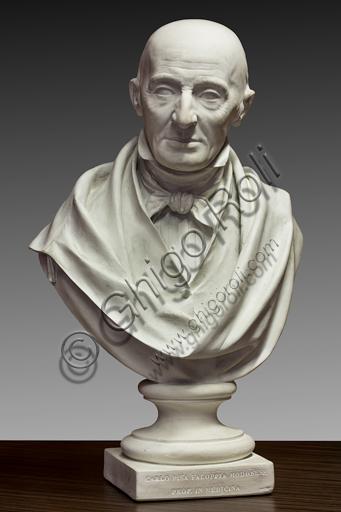 """Assicoop - Unipol Collection:  Alessandro Cavazza (Modena, 1824 - Reggio Emilia, 1873); """"Busto of Carlo Pisa Faloppia, Modena teacher""""; 1855, scagliola h. 75 cm."""