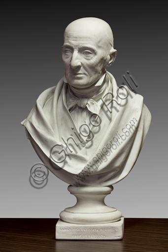 """Collezione Assicoop - Unipol,   Alessandro Cavazza (Modena, 1824 - Reggio Emilia, 1873); """"Busto di Carlo Pisa Faloppia, professore modenese""""; 1855, scagliola altezza 75 cm."""