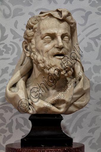 "Fontanellato, Labirinto della Masone, Franco Maria Ricci Art Collection: ""Bust of Democritus"", by Venetian sculptor (school of Orazio Marinali), marble sculpture."