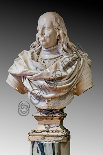 "Fontanellato, Labirinto della Masone, Franco Maria Ricci Art Collection: ""Bust of Ferdinando II De Medici"", by Giovanni Battista Foggini, marble sculpture."