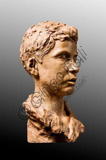 "Assicoop - Unipol Collection:   Marino Quartieri (1917 - 2003); ""Bust of a Boy""; Terracotta, h. cm. 37."