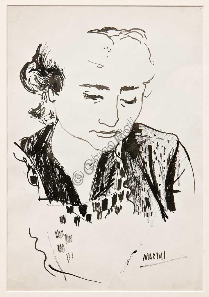 """Collezione Assicoop Unipol: Mazzoli""""Busto femminile"""",  Litografia, cm 32,5 x 22,5"""