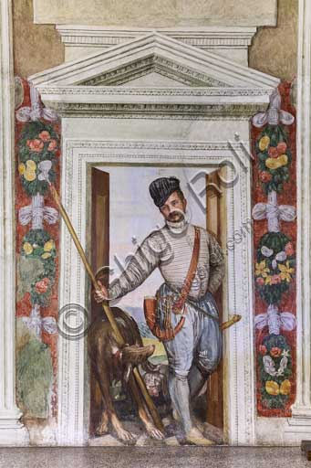 """Maser, Villa Barbaro,  Hall of Olympus: fresco  """"The Hunter"""", that is a self portrait by Veronese (Paolo Caliari), 1560 - 1561."""