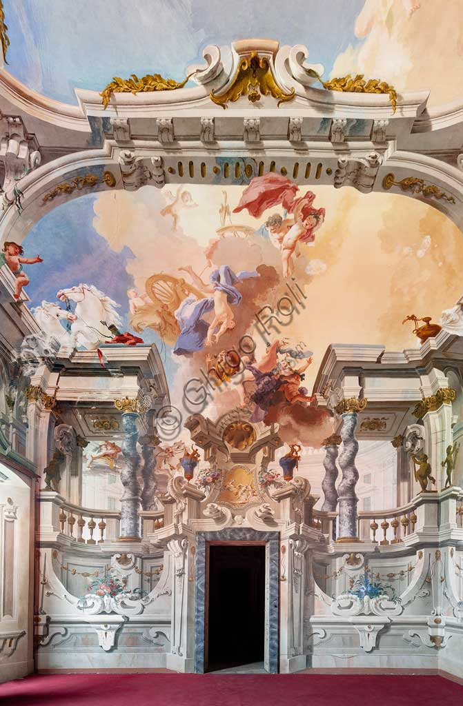 "Villa Crivelli (formerly Arconati): view of the Hall of the Parties. The fresco paintings representing ""The Fall of the Phaethon"" is by Bernardo and Fabrizio Galliari, 1750 - 1760."