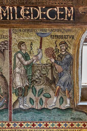 "Palermo, The Royal Palace or Palazzo dei Normanni (Palace of the Normans), The Palatine Chapel (Basilica), cycle of mosaics on the Old Testament, cycle of the Creation: ""Cain and Abel sacrifice a Lamb"", XII century."