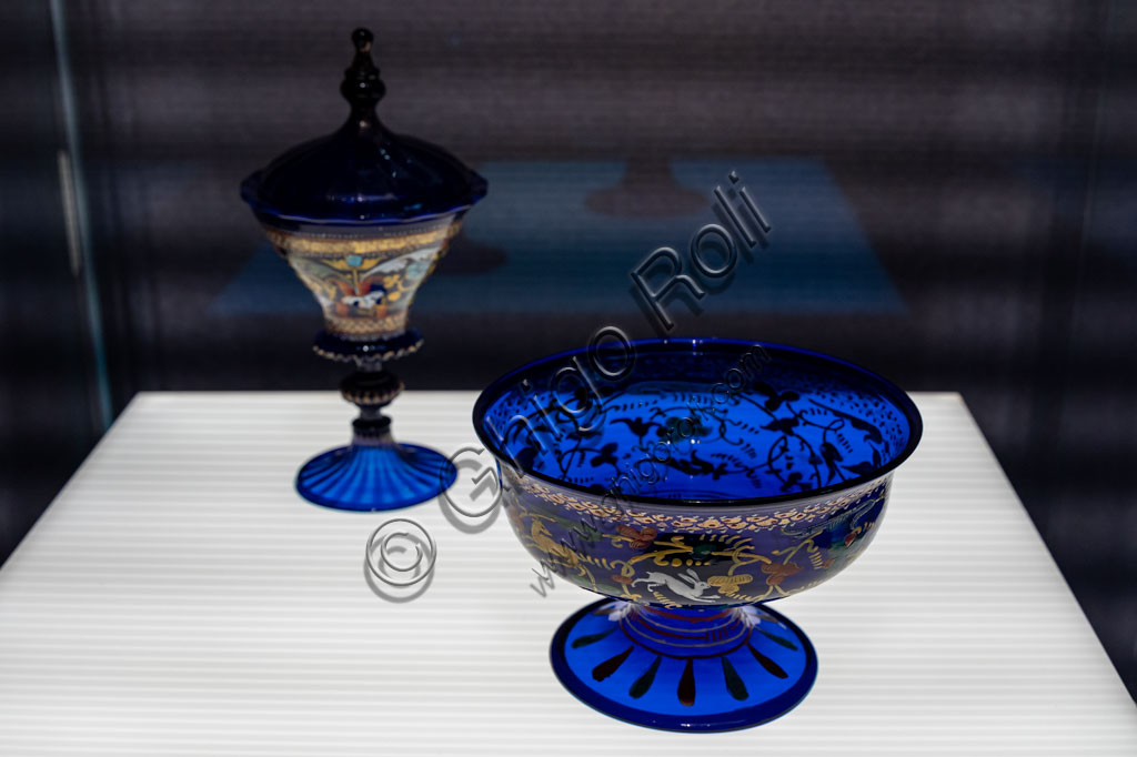 """Brescia, Pinacoteca Tosio Martinengo: """"Covered chalice and Footed cup"""", by Venetian workshop, beginnning XVI century. Light blue glass with golden leaf and enamel."""