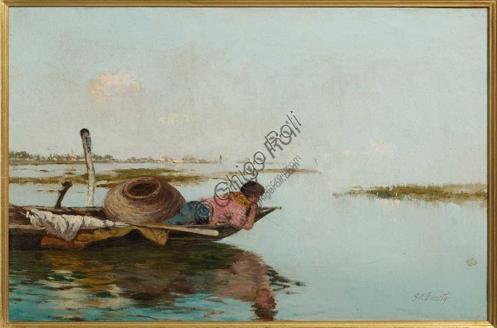 """Collezione Assicoop - Unipol: """"Calma. Laguna veneta"""", olio su tela, di Giuseppe Miti Zanetti (1859 - 1929)."""