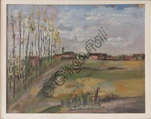 """Collezione Assicoop - Unipol, inv. n° 494: Filippo De Pisis (Ferrara 1896-1956); """"Campagna ferrarese, 1919"""" , olio su tavola, 51 x 41."""