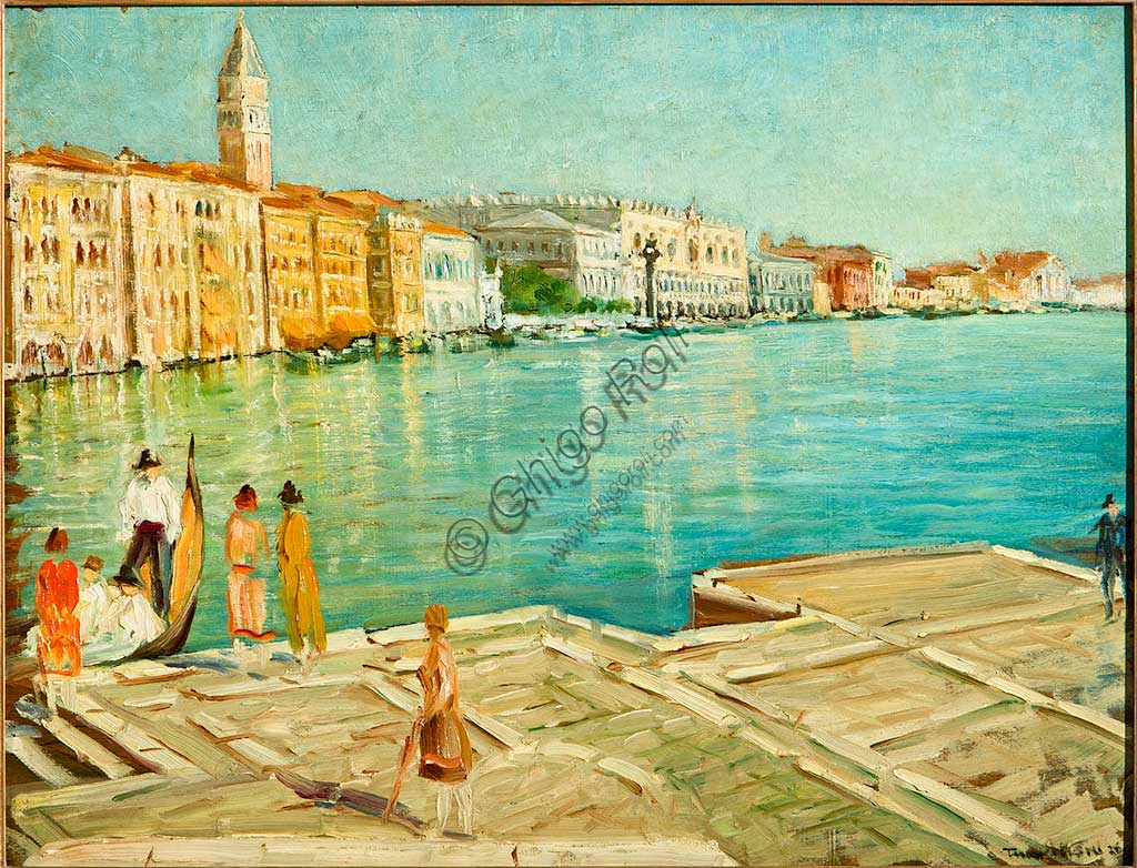 "Assicoop - Unipol Collection:  Tino Pelloni (1895 - 1981), ""The Grand Canal in Venice"". Oil painting, cm 51 x 65,5."
